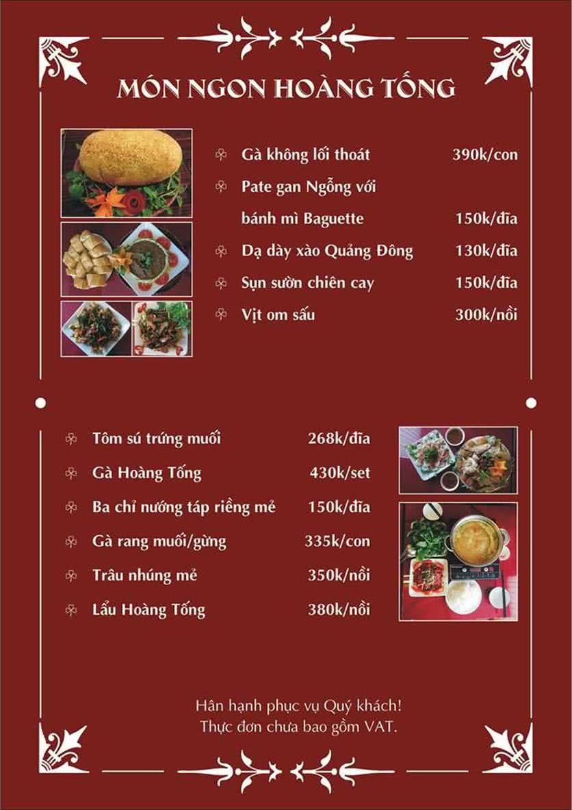 Menu Hoàng Tống - Phạm Hùng 10