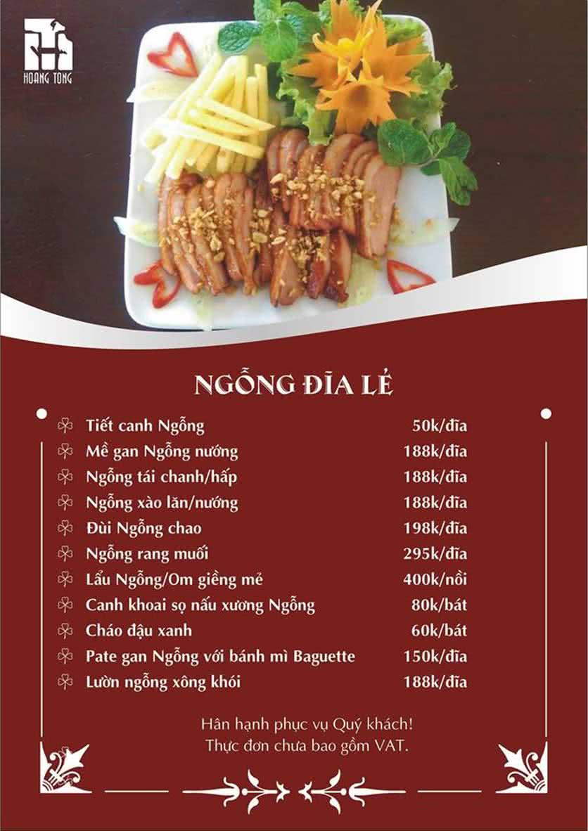 Menu Hoàng Tống - Phạm Hùng 11
