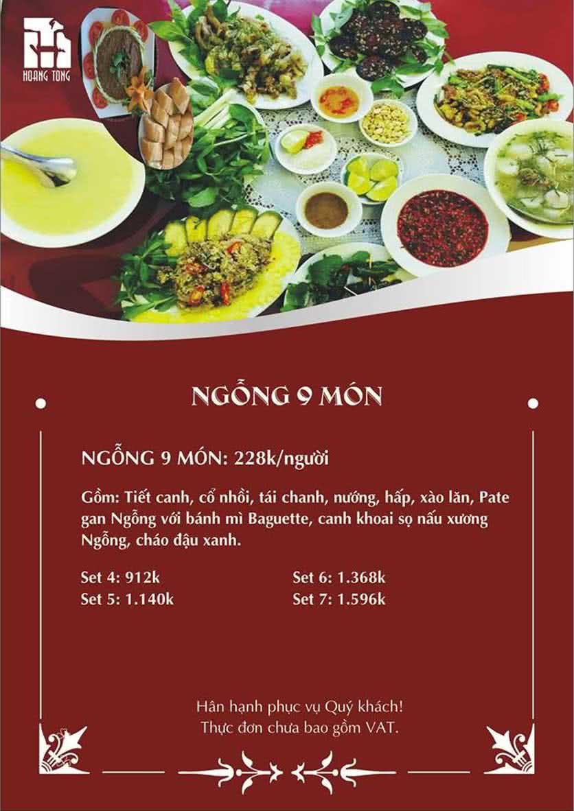 Menu Hoàng Tống - Đỗ Quang 2