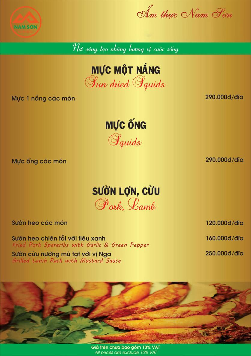 Menu Nam Sơn 11