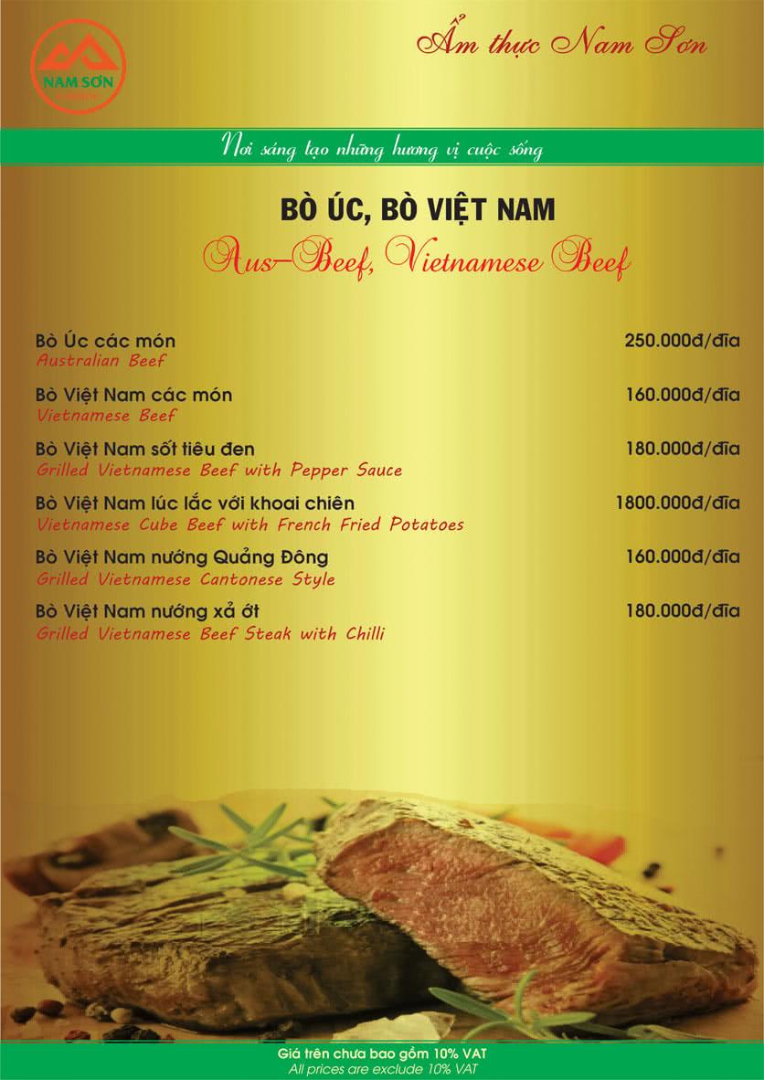 Menu Nam Sơn 13
