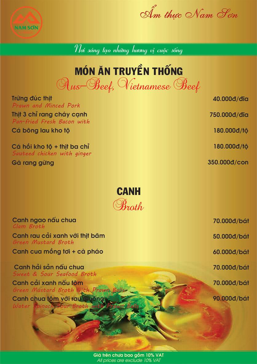 Menu Nam Sơn 14