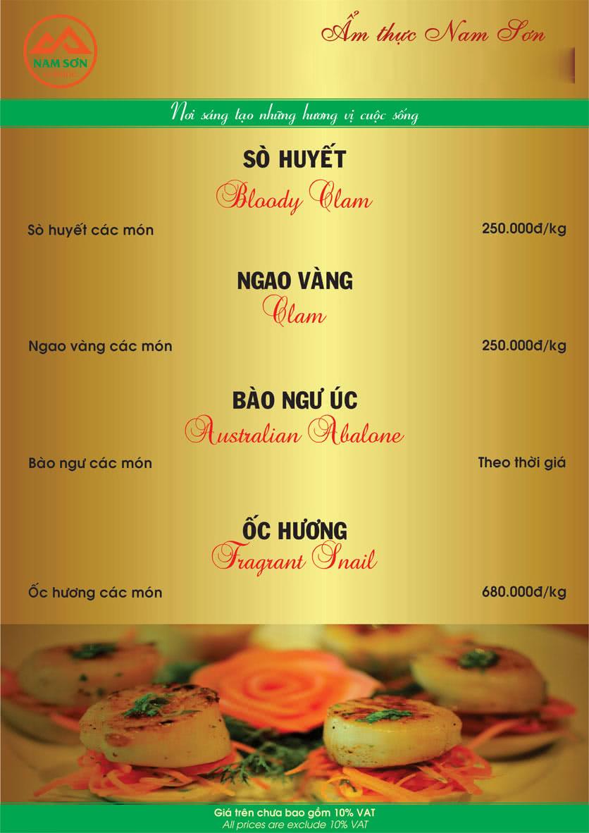 Menu Nam Sơn 7