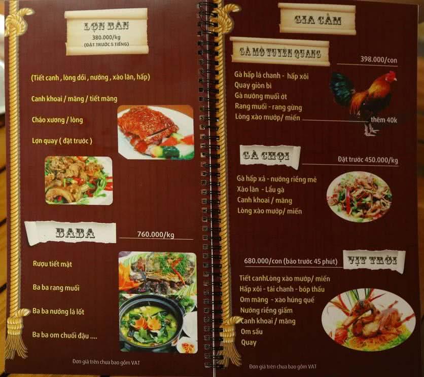 Menu Sơn Thiên  2