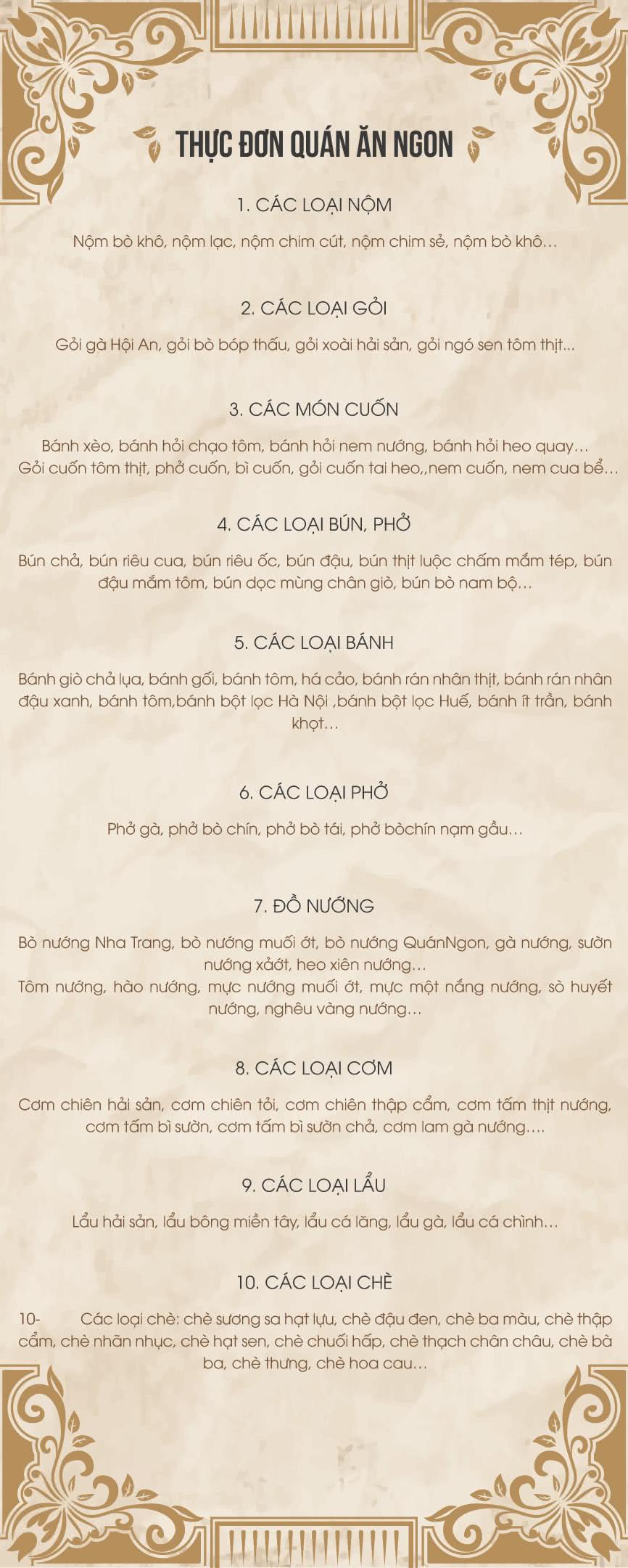 Menu Quán Ăn Ngon - Phan Bội Châu 1