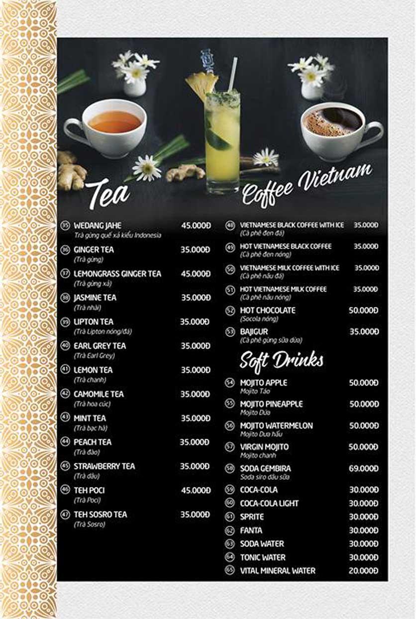 Menu Batavia Restaurant & Cafe - Xuân Diệu 12