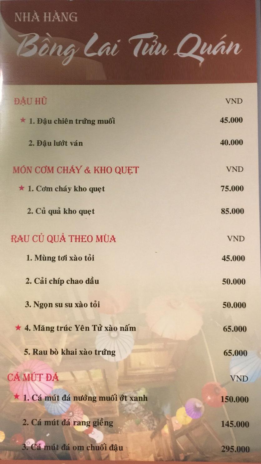 Menu Bồng Lai Tửu Quán - Triệu Việt Vương 1