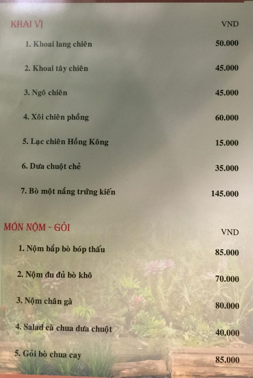 Menu Bồng Lai Tửu Quán - Triệu Việt Vương 2