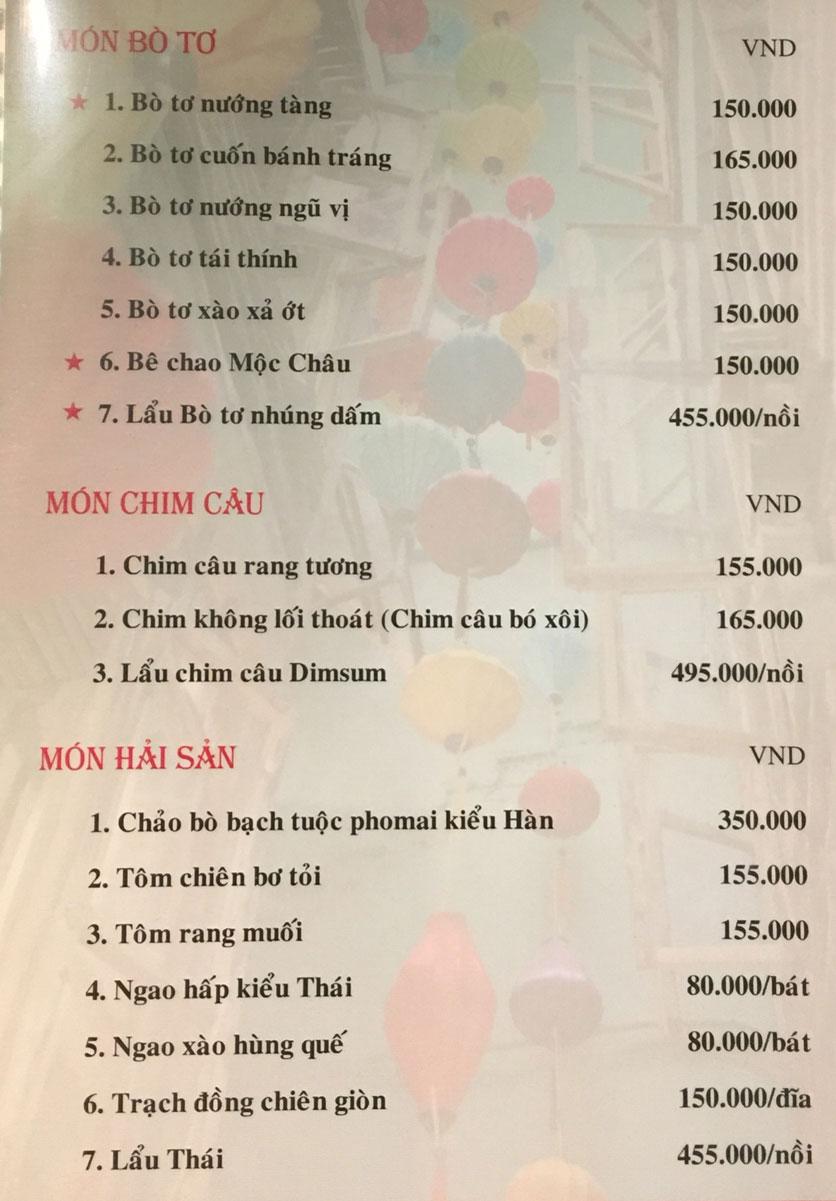 Menu Bồng Lai Tửu Quán - Triệu Việt Vương 3