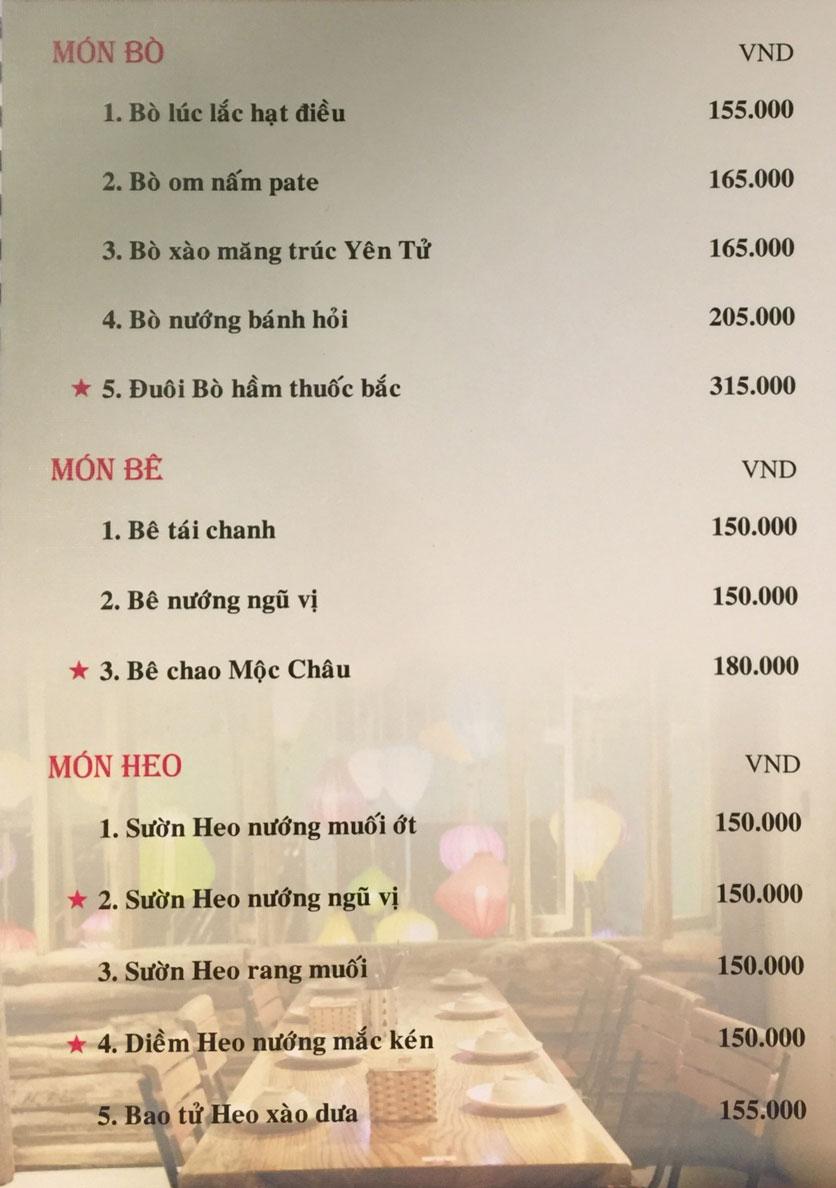 Menu Bồng Lai Tửu Quán - Triệu Việt Vương 4