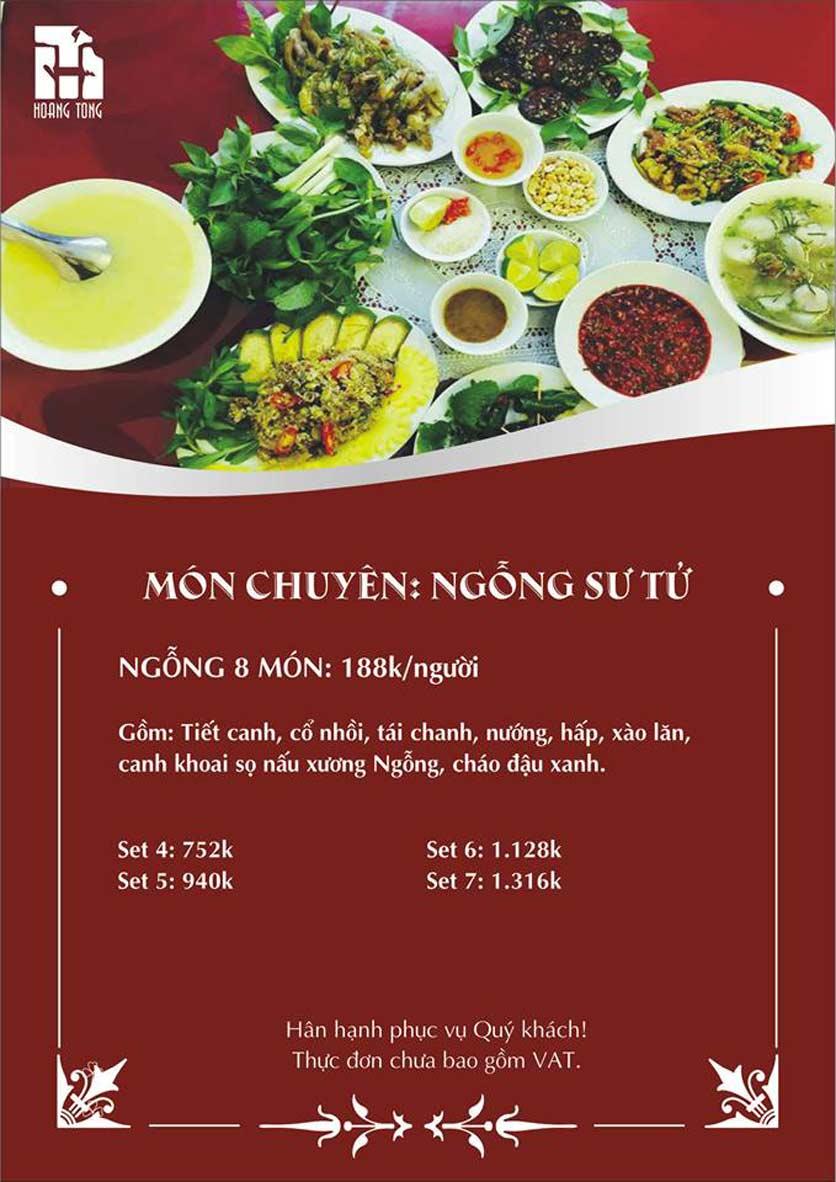 Menu Hoàng Tống - Phạm Hùng 1