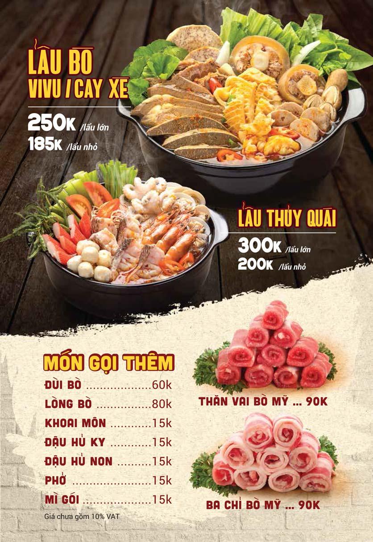 Menu Lẩu Bò Sài Gòn ViVu - Hai Bà Trưng 1