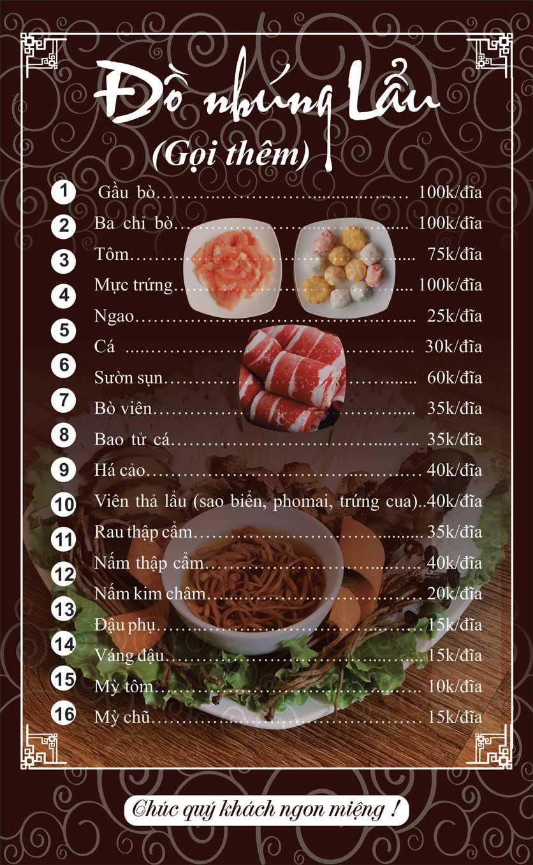 Menu Phong Quán - Bạch Đằng 16