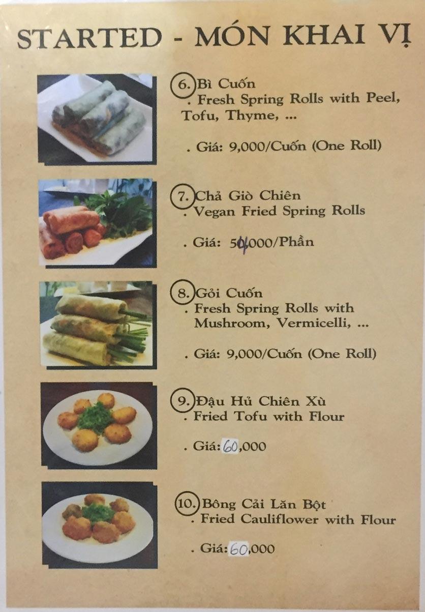 Menu Saigon Vegan - Võ Văn Tần 2