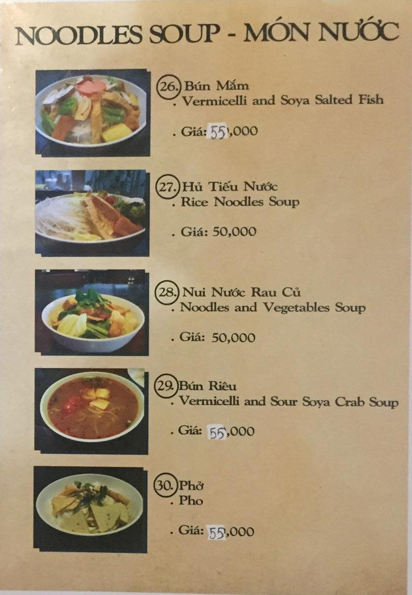 Menu Saigon Vegan - Võ Văn Tần 6