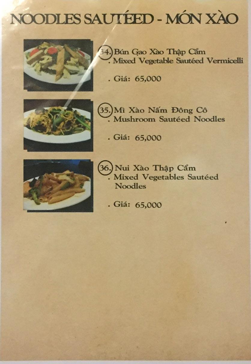 Menu Saigon Vegan - Võ Văn Tần 8