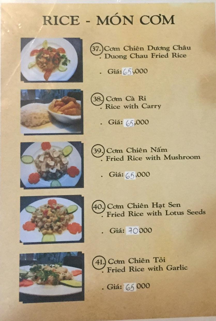 Menu Saigon Vegan - Võ Văn Tần 9