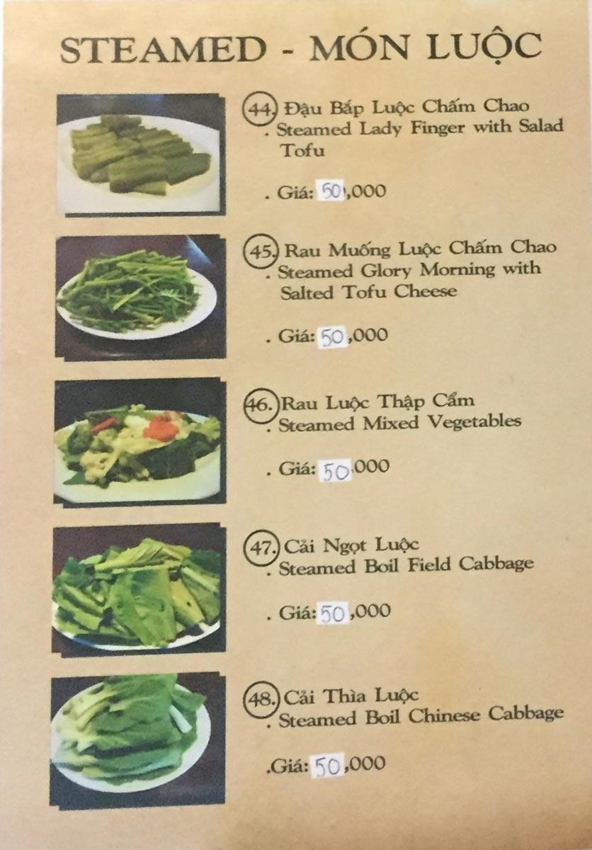 Menu Saigon Vegan - Võ Văn Tần 11