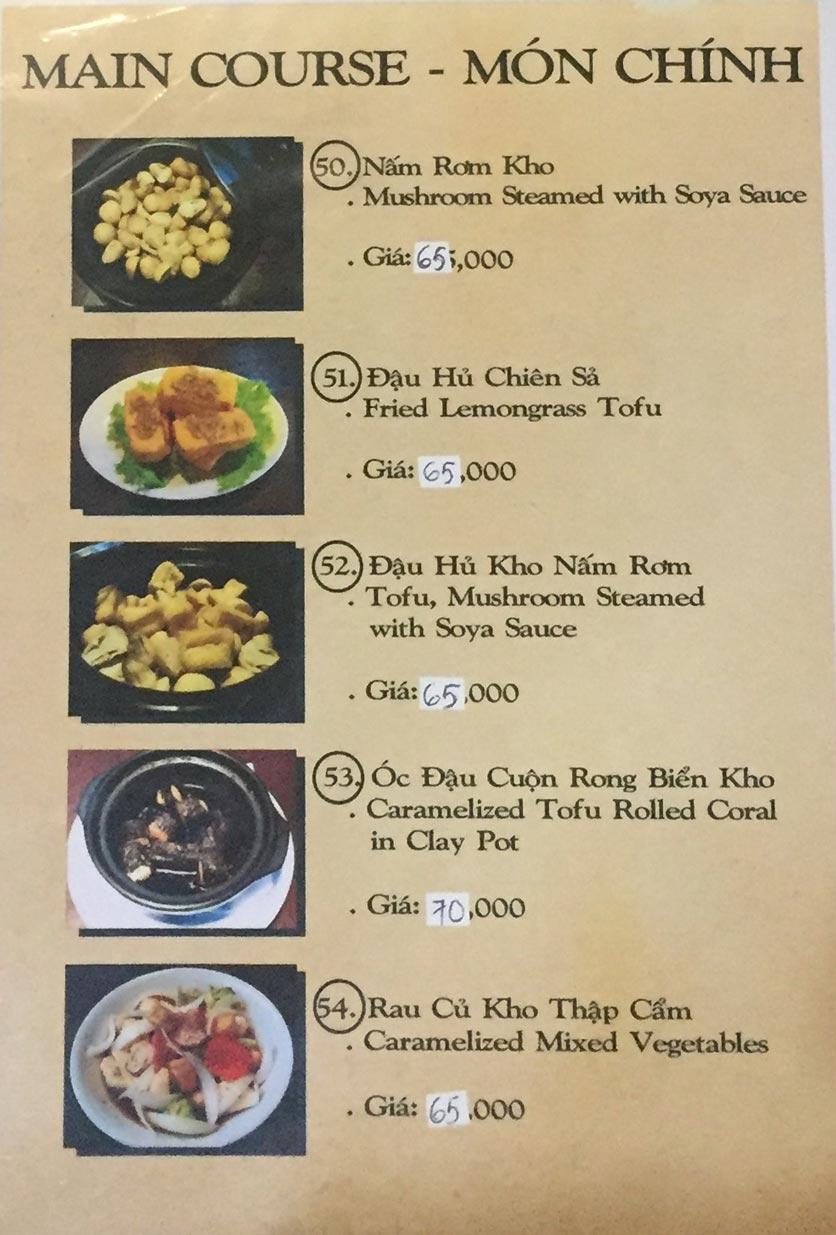 Menu Saigon Vegan - Võ Văn Tần 12
