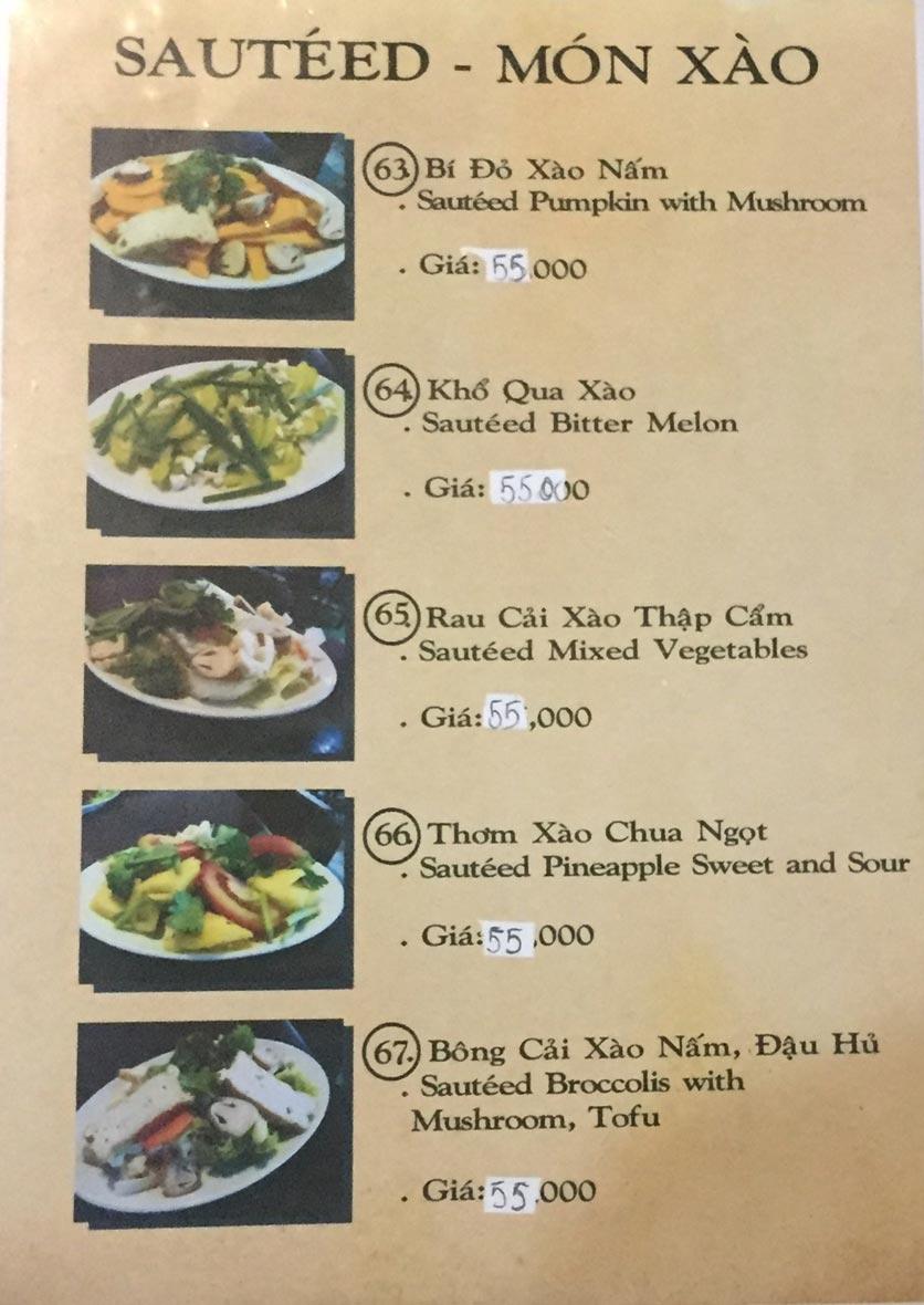 Menu Saigon Vegan - Võ Văn Tần 15
