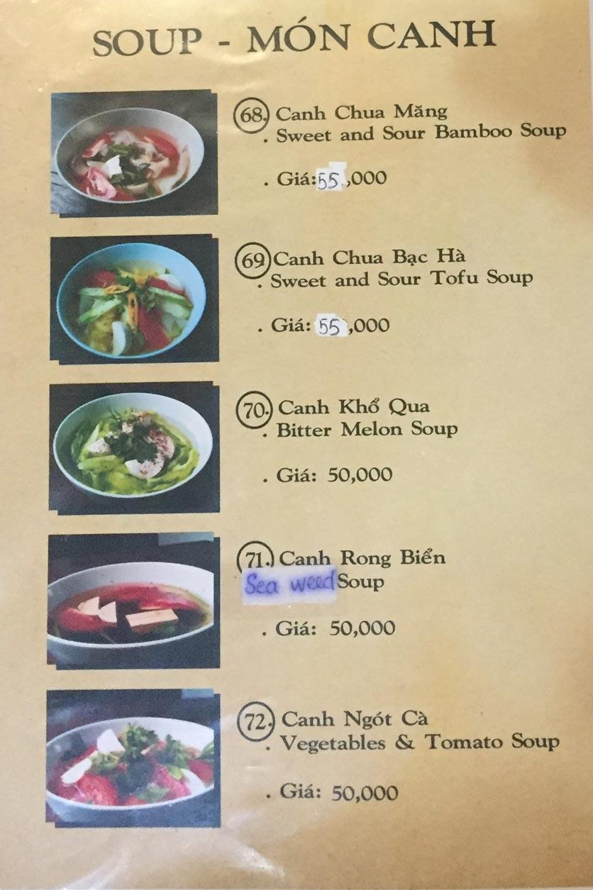 Menu Saigon Vegan - Võ Văn Tần 16