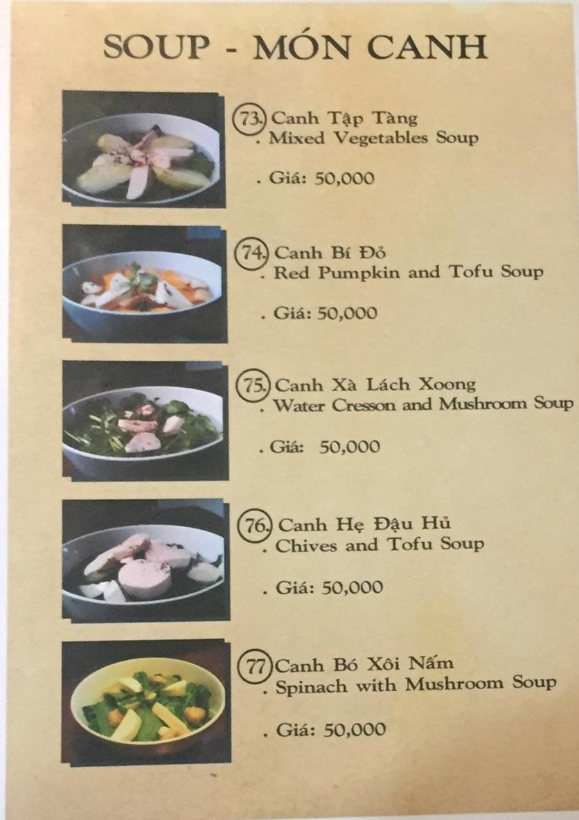 Menu Saigon Vegan - Võ Văn Tần 17