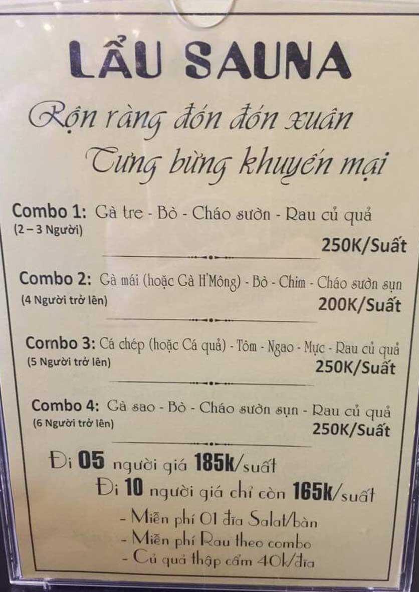 Menu Lẩu Sauna Cường Thịnh - Trích Sài 2