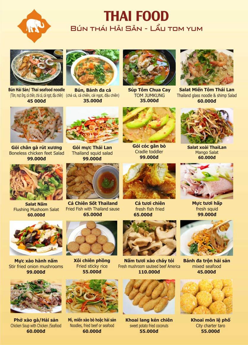 Menu Thái Food - Phan Đình Phùng 1