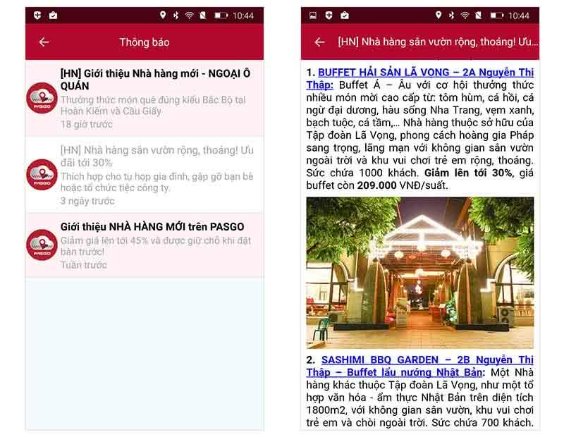 PASGO cải tiến ứng dụng Push notification ảnh 1