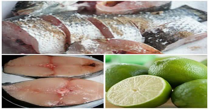 Làm sạch cá bằng chanh, muối, giấm, rượu gừng hoặc nước vô gạo