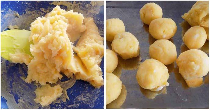 cách làm bánh rán nhân sầu riêng - xào nhân xong viên tròn