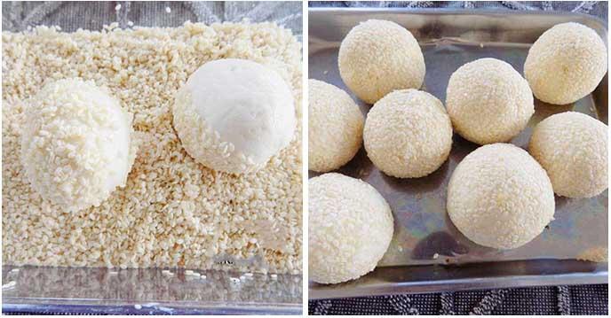 cách làm bánh rán nhân sầu riêng - lăn bánh vào âu vừng