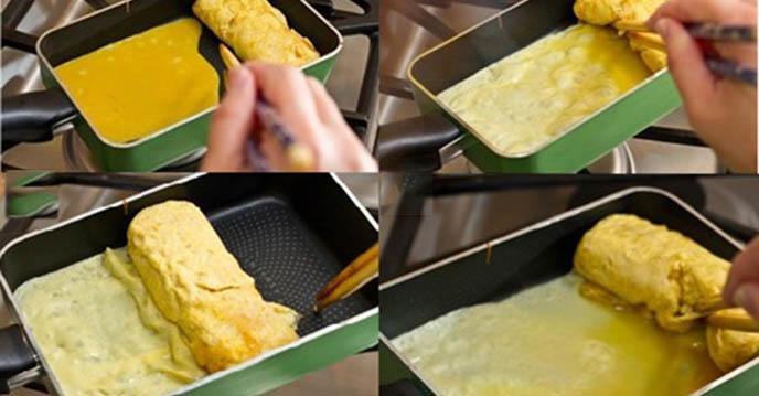 Cách làm trứng cuộn Nhật Bản - cuộn trứng vào mành trư rồi cắt