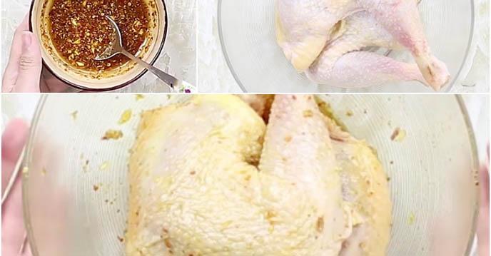 cách nướng gà bằng nồi cơm điện - ướp gà