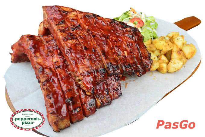 Combo sườn lợn nướng quét sốt BBQ - pepperonis giảng võ